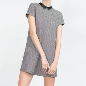 Zara faux leather collared dress